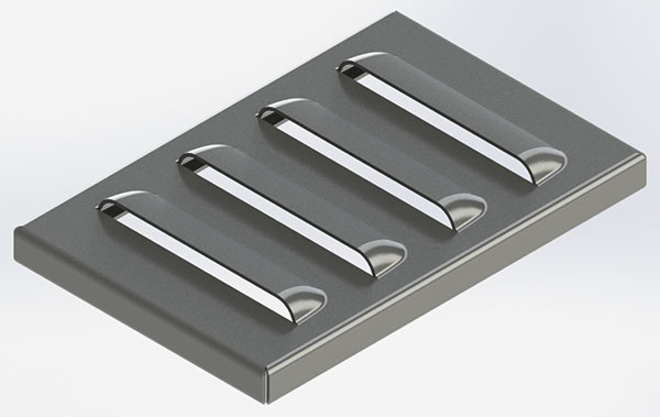 A Standard Style Louver Punched Into Sheet Metal
